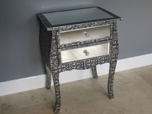 Blackened Silver Embossed Patterned Metal Mirrored Bedside