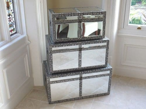 Blackened Silver Embossed Patterned Metal Mirrored Chests Set Of 3 Trunks