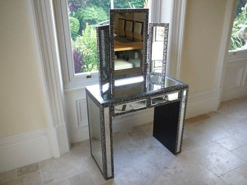 Blackened Silver Embossed Patterned Metal Mirrored Dressing Table Set
