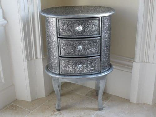 Blackened Silver Embossed Patterned Metal Oval Bedside