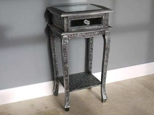 Blackened Silver Embossed Patterned Metal Side Lamp Telephone Table