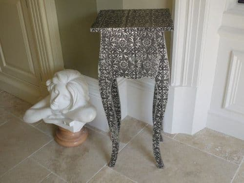 Blackened Silver Embossed Patterned Metal Tall Wave Bedside