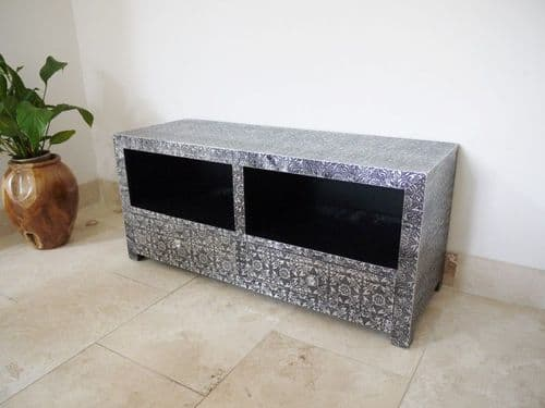 Blackened Silver Embossed Patterned Metal TV Cabinet