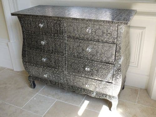Blackened Silver Embossed Patterned Metal Wave Chest Of Drawers