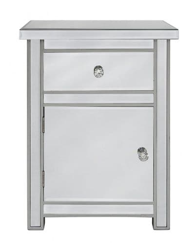 Classic Mirrored Cabinet With Crystal Handles