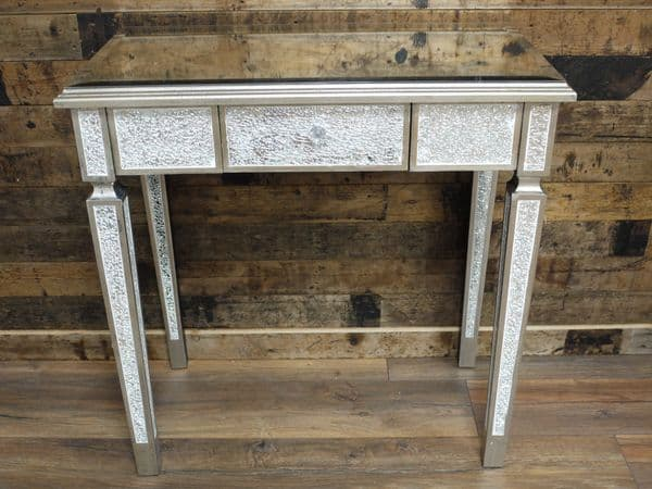 Crackle Mirrored Dressing Table Silver Sparkly Broken Glass