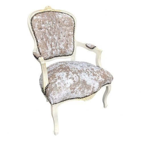 Cream Frame Louis Crush Velvet Cream Salon Armchair