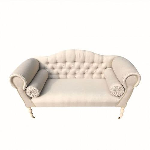 Cream Linen 2 Seater Chaise Sofa