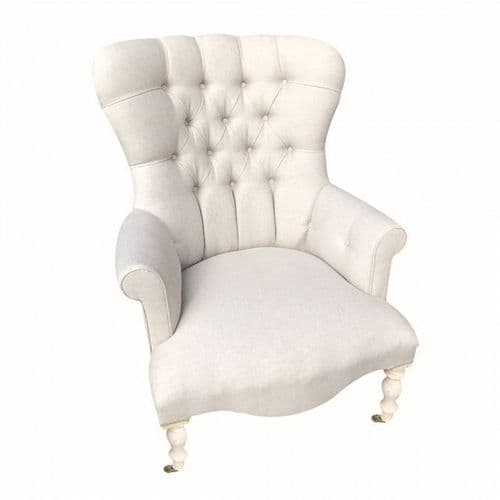 Cream Linen Large Button Back Chair With White Painted Legs