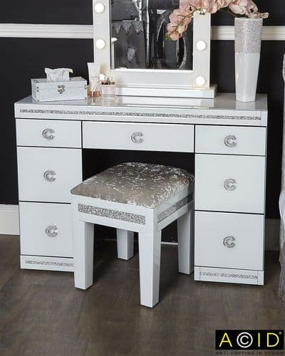 Crystal White Diamond Dressing Table