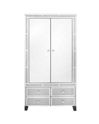Diamante Crystal Bricks Mirrored Wardrobe
