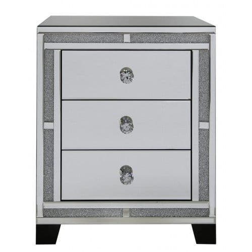 Diamante Crystal Bricks Sparkly Mirrored Chest Of Drawers