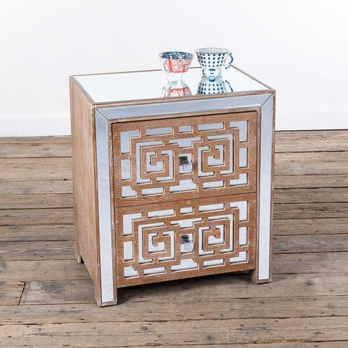 Geometric Patterned Mirrored Two Drawer Wooden Cabinet