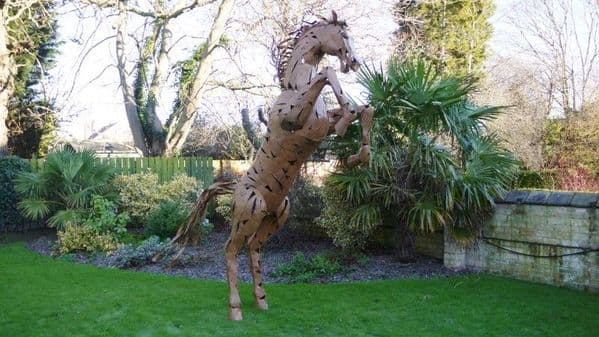 Giant 11ft Rearing Horse Garden Event Sculpture - Rust Brown