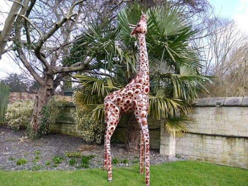 Giant 7ft Plated Metal Giraffe Garden Event Sculpture - 2.3m