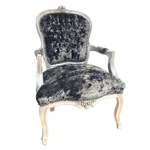 Grey Frame Salon Louis Crush Velvet Black Armchair (1)