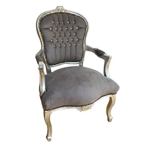 Grey Velvet Salon Arm Chair With Silver Frame & Crystal Studded Back