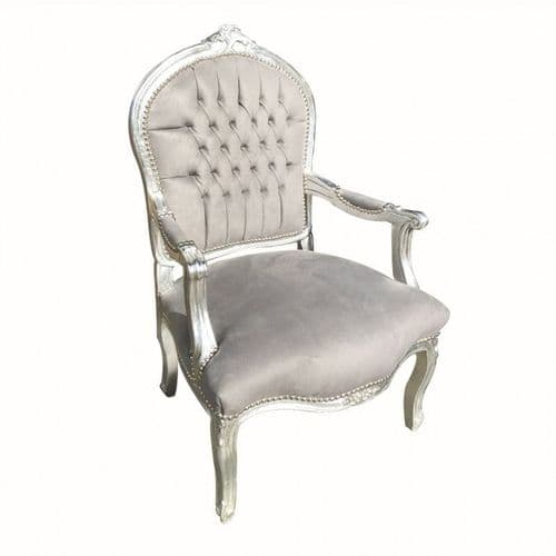 Grey Velvet Salon Upholstered Arm Chair XL