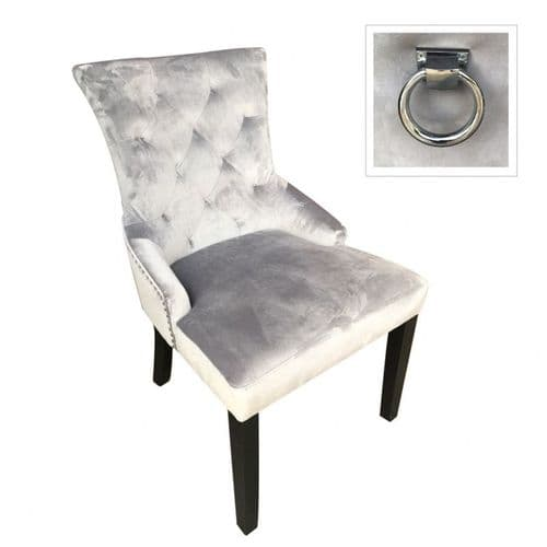 Grey Velvet Upholstered Dining Chair With Chrome Ring Knocker