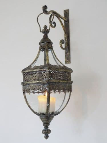 Hanging Wall Lantern Antique Bronze (Set of 2)