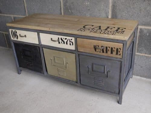 Industrial Cafe Print Wooden Top Small Sideboard Cabinet