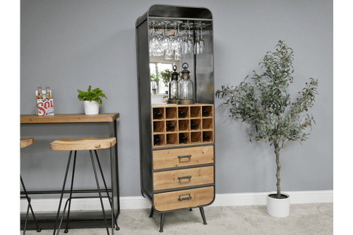 Industrial Metal Wine Cabinet - Grey (Mirrored Back)