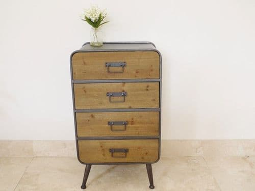Industrial Rustic Wood Metal Chest Of Drawers