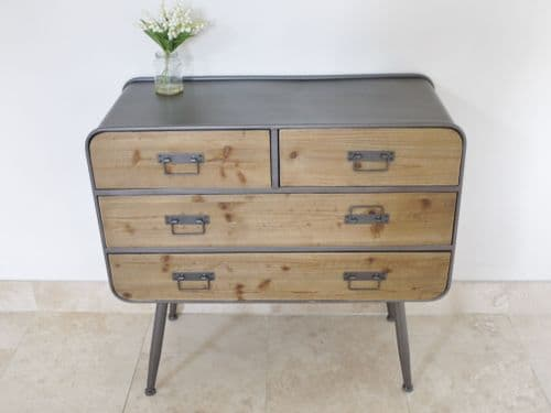 Industrial Rustic Wood Metal Chest Of Drawers - Grey
