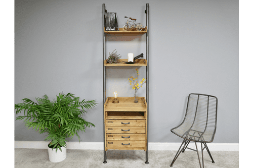Industrial Rustic Wood Metal Shelving Unit With Drawers