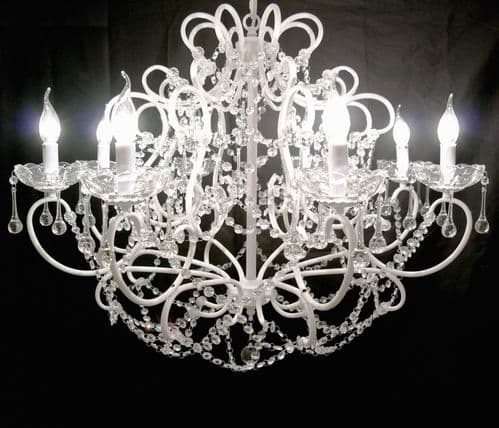 Large White 8 Branch French Cut Glass Chandelier