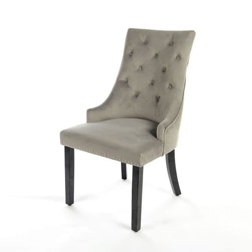 Light Grey Velvet Dark Oak Leg Dining Chair With Knocker