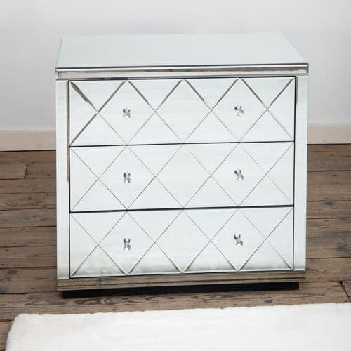 Mirrored Diamond Venetian Cabinet Sideboard - Silver