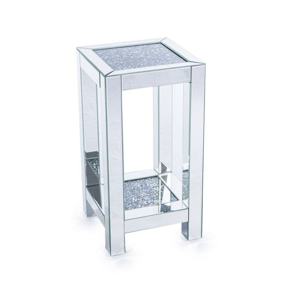 Mirrored Venetian Crushed Diamond Crystal Med Occasional Side Table