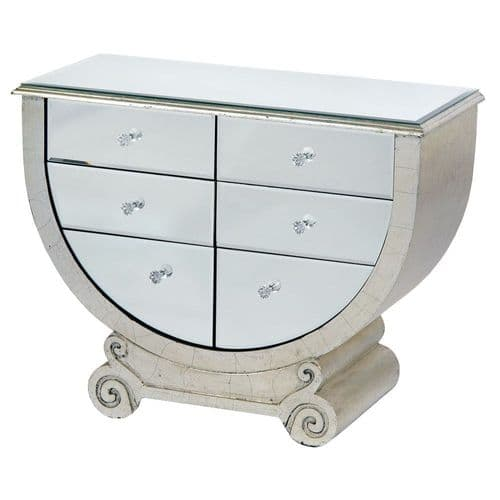 Mirrored Venetian Scroll Leg Cabinet Sideboard - Silver