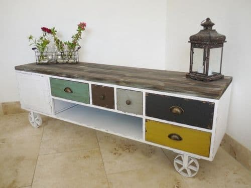 Multicoloured Shabby Chic TV Cabinet
