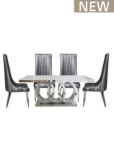 Omega Grey Natural Marble Dining Table And 6 Chairs Set