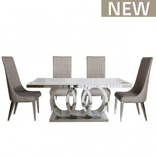 Omega Taupe Natural Marble Dining Table And 6 Chairs Set