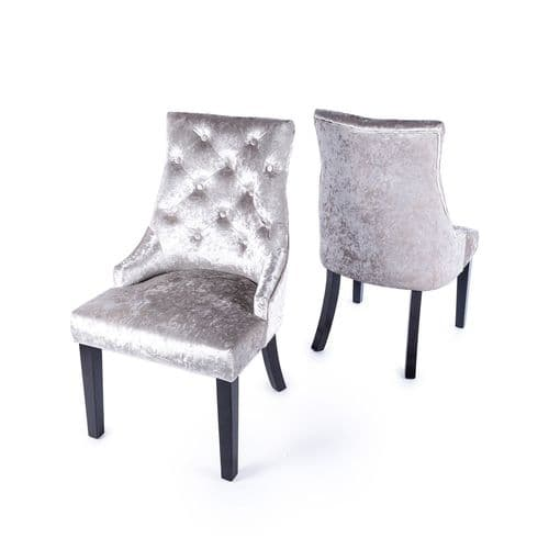 Platinum Crushed Velvet Dark Oak Leg Dining Chair