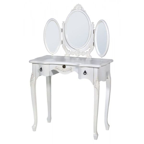 Provence Antique White Small Dressing Table with Oval Mirror