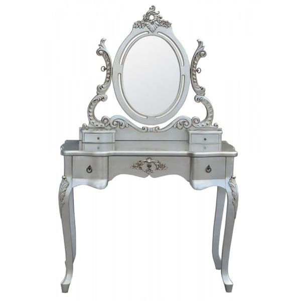 Provence Silver 3 Drawer Ornate Dressing Table