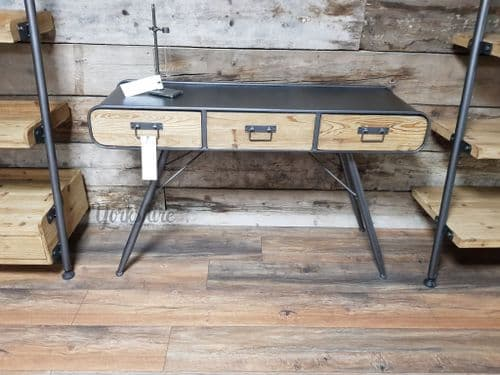 Retro Rustic 4 Leg Industrial Metal Computer Desk - Grey