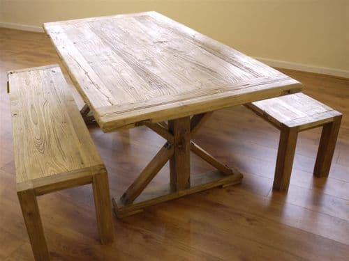 Rustic Reclaimed Elm Dining Table & Two Benches