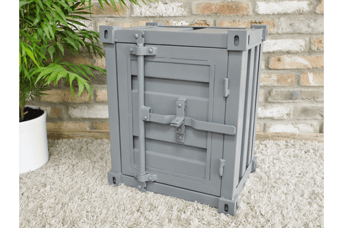 Shipping Container Bedside Cabinet Industrial Metal - Grey