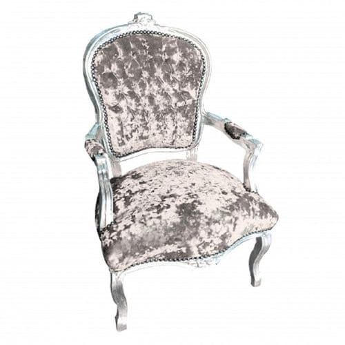Silver Frame Salon Louis Crush Velvet Grey Armchair