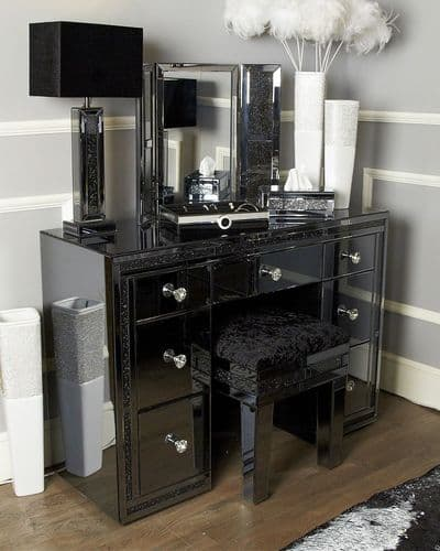 Smoked Diamante Crystal Bricks Mirrored 7 Drawer Dressing Table Grey