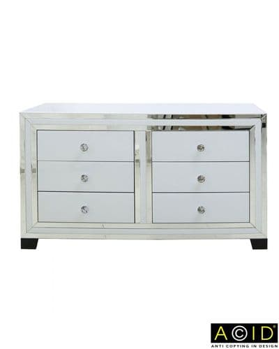 White Modena Mirrored 6 Drawer Chest