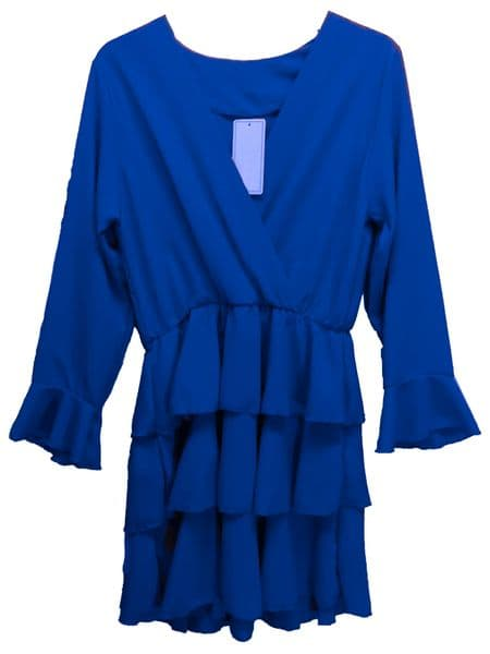 Flared Sleeve Ruffle Tunic Dress
