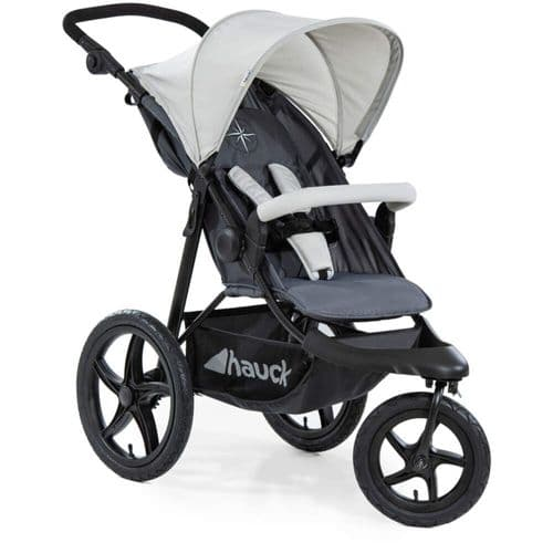 NEW Hauck Runner Air 3 Wheeler Pushchair Jogger Buggy in Silver Grey