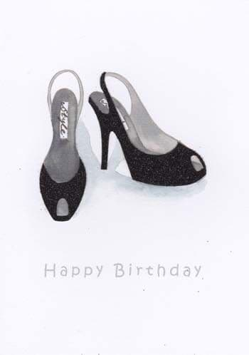 Black Rounded Shoes Birthday Card