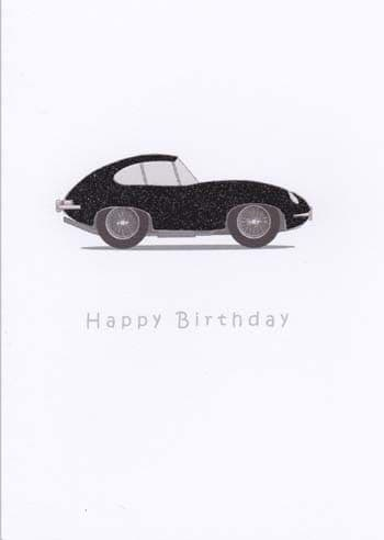 Black sports coupe Birthday Card